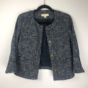 Michael Kors knit raw hem button up work jacket